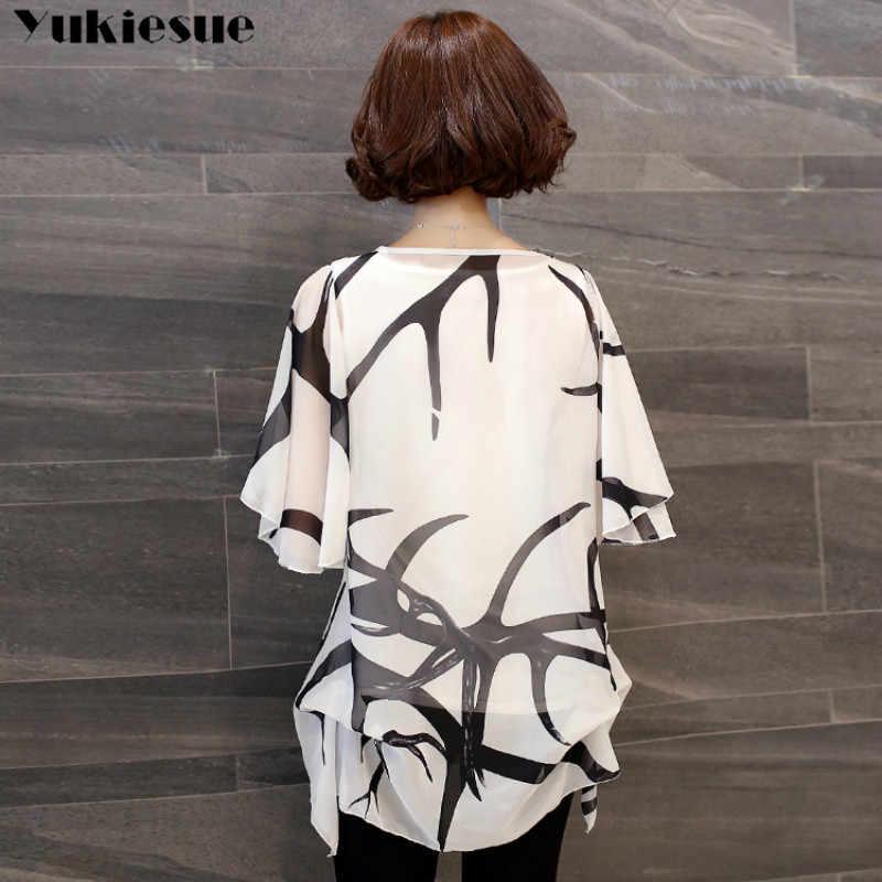 新 2018 夏の半袖の女性の服のファッションプラスサイズ 5XL シフォン女性ブラウスシャツルース woemn のトップス blusas 60A 30