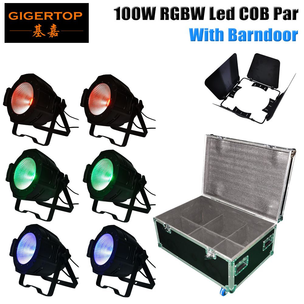 Freeshipping COB Led Par Light Indoor with Barndoor 100W RGBW Quad Color Par 64 Stage Lighting High Brightness Fresnel Spotlight