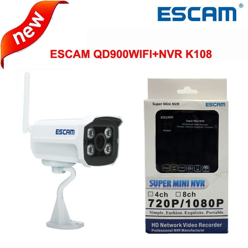 ФОТО ESCAM 1080p Brick QD900WIFI 2MP Network IR-Bullet Camera Day/Night IP66 wireless ip camera+ESCAM MINI NVR K108 free shipping