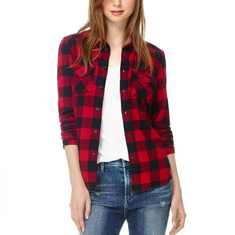 Online Get Cheap Red Casual Plaid Shirt Women Blouses Long Sleeve ...