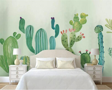 Beibehang papel de parede 3d wallpaper Hand-painted cactus modern minimalist fashion Childrens room background wall
