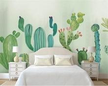 Купить с кэшбэком Beibehang papel de parede 3d wallpaper Hand-painted cactus modern minimalist fashion Children's room background wall wallpaper