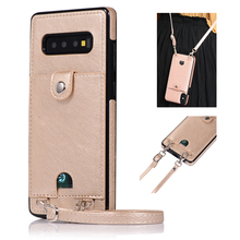 Case For Samsung S10E S9 S8 Plus S7 Edge Leather Phone Cover Wallet Card Strap Crossbody Long Chain Fundas For Note 10 Plus 8 9