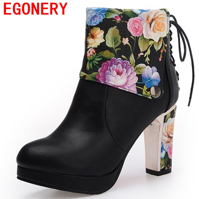 egonery ankle boots woman round toe platform high heels ladies thick heel laced up side zipper flower color plus size shoes lady цены онлайн