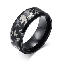 LIN STUDIO Black Ring Men Jewelry Engrave Military Camouflage Stainless Steel Male Rings R-037
