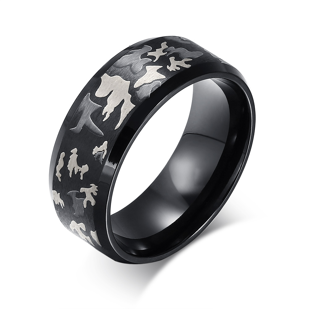 lin studio black ring men jewelry engrave military camouflage stainless steel male rings r 037 - Mens Camo Wedding Ring