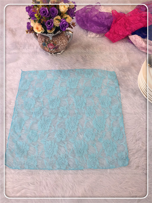 100pcs Lace Fabric Napkin Table Cloth Chair Sashes Cover Flowers Home Hotel Dinner Party ...