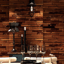 custom 3d American retro personality wood plank brick vinyl wallpaper bar restaurant clothing store cafe background