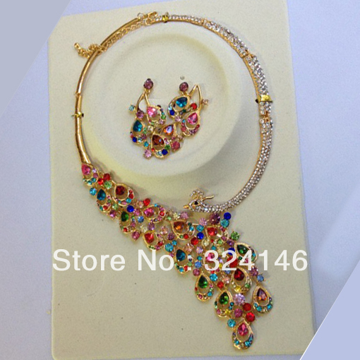 2016 Luxurious Multicolour crystal Peacock bridal jewelry sets Gold Plated Necklace Earring Wedding jewelry set for Bride