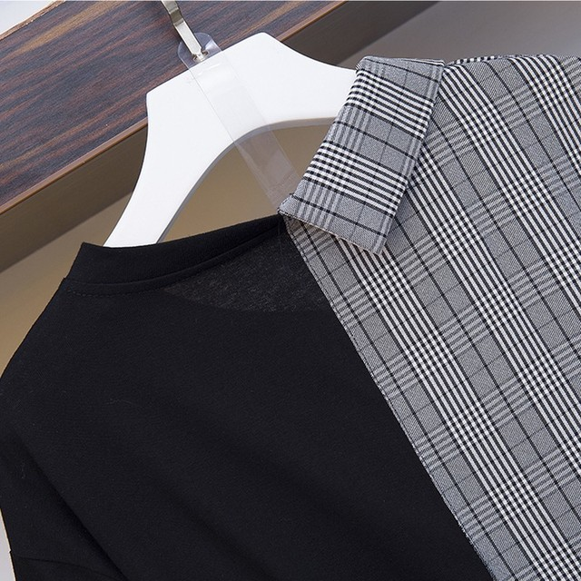High Quality Irregular patchwork Dress Women 2019 New Casual office lady Vintage Dress with belt Vestido plus size 3
