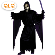 Purim Party Men  Grave Ghoul Cosplay Costumes Horror Black Ghost costumes with Mask Halloween Party Role Play  Costumes