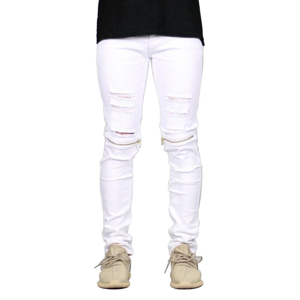 2017 Men Skinny Jeans Stretch Ripped Destroyed Knee Zippers Hip Hop White Biker Jeans Men H0392 nostalgia retro design fashion men jeans european stylish dimensional knee frayed hole destroyed ripped jeans men biker jeans