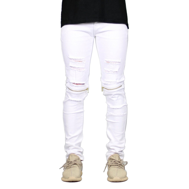 7a2068e839a9c 2017 Men Skinny Jeans Stretch Ripped Destroyed Knee Zippers Hip Hop White  Biker Jeans Men H0392