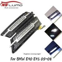 100% Водонепроницаемый c РЗЭ светодиодный фары DRL дневного Бег света для BMW 3 серии E90 E91 05 ~ 08 12 В авто передний бампер лампа