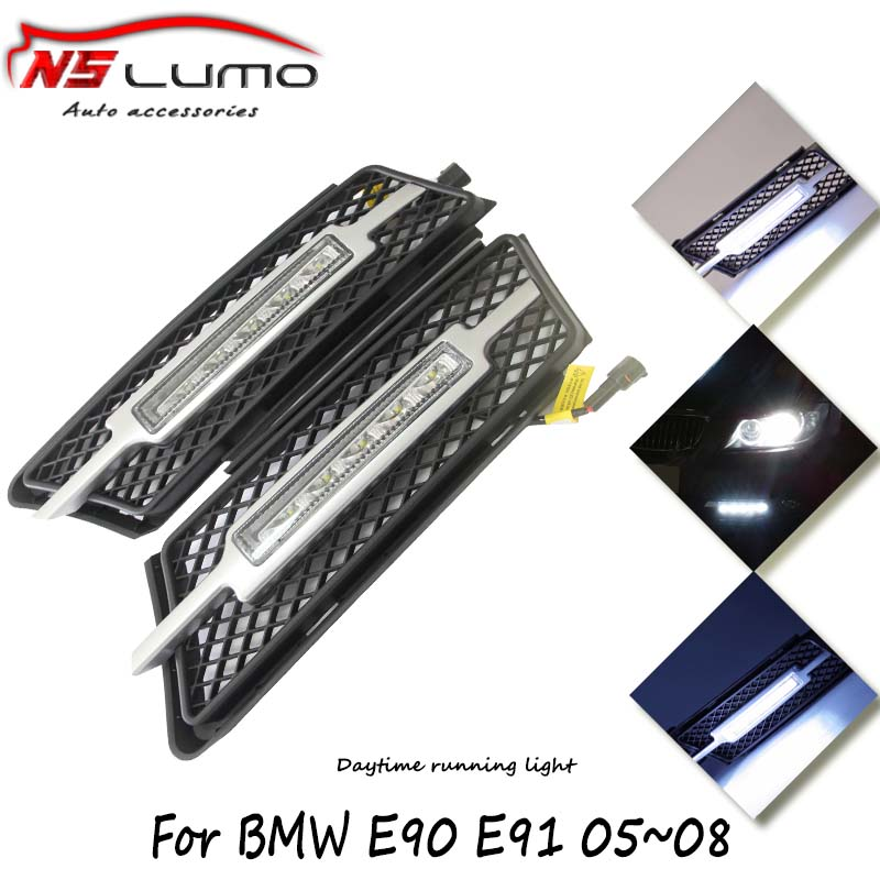 100% Waterproof C ree LED Lights DRL Daytime Running Light for BMW 3 series E90 E91 05~08 12V Auto front bumper Lamp