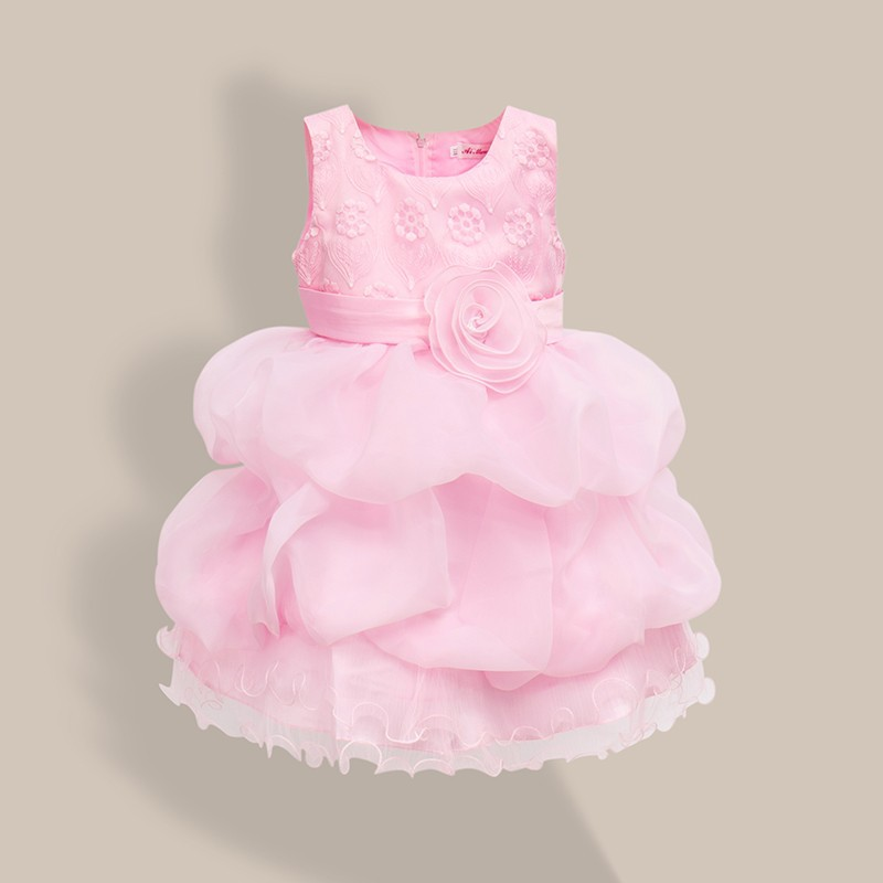 New Girl Birthday Dresses Wedding Party Gift Flower Pink Lace Bow White Red Princess Dress Child's Clothes Sleeveless Vest Dress lace dresses for girls wedding birthday party dress sleeveless flower summer dress girl clothes bow fashion cute princess dress