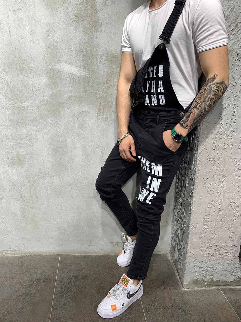 Mcikkny Men\`s Ripped Denim Jeans Bib Overalls Letter Printed Jeans Jumpsuit For Male Streetwear Suspender Pants Size S-XXL (5)