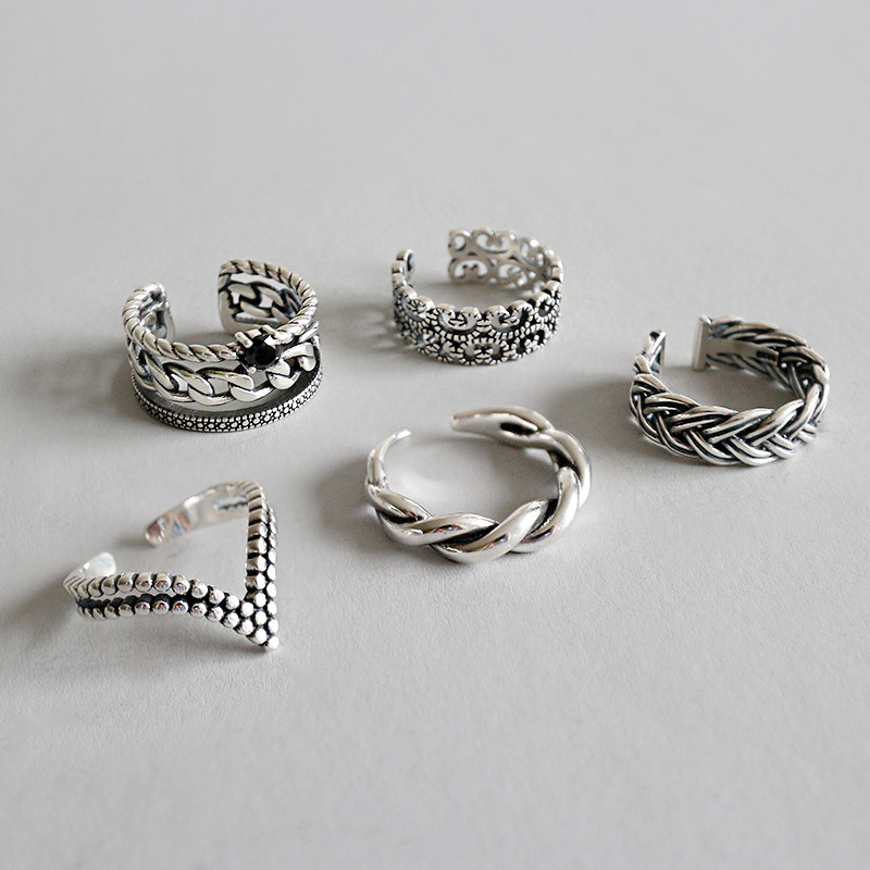 925 Sterling Silver Zircon Woven Twist Rings Silver Vintage Do Old Fashion Wid Open Rings For Women Vintage Jewelry For Charms