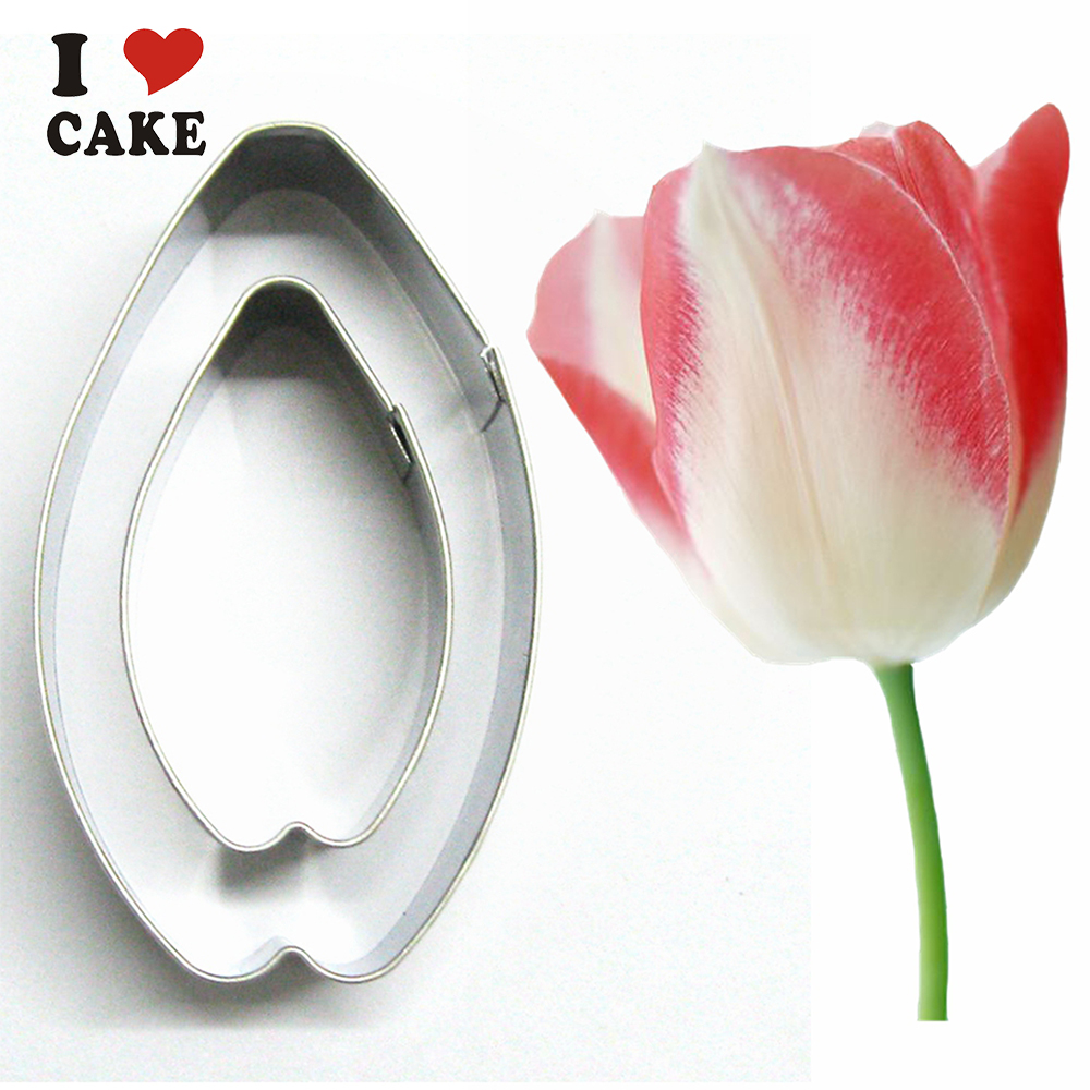 free shipping Tulip Stainless steel flower cutter fondant ...
