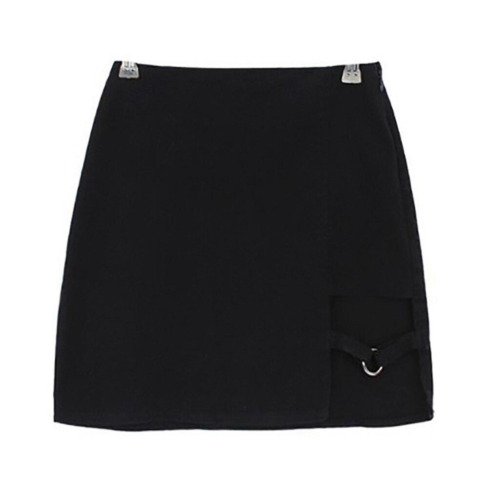 KLV Women Summer Harajuku Sexy Irregular High Waist Bandage Skirt Female Black Gothic Mini Bodycon Short Skirt Slim Clubwear