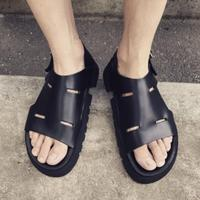 genuine leather mens gladiator sandals shoes 2018 black beach cool sandals mujers summer cutout male casual sandals size 44