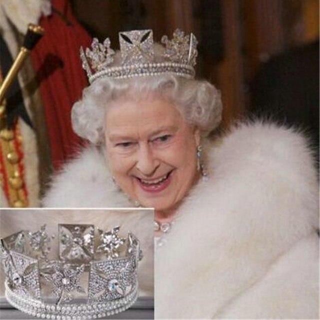 Lüks gelin kraliçe Elizabeth taç avrupa barok taç Headdress düğün saç aksesuarları güzellik saç klipleri kraliyet taçlar