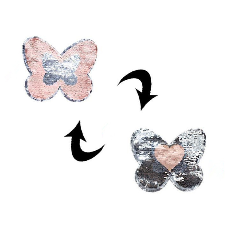 Reversible change color sequins patches for clothing 20cm butterfly heart deal with it patch clothes t shirt diy stickers