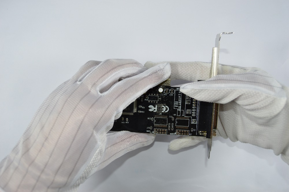 5 Pairs Non-slip White Color Full Finger Anti Static Gloves Esd Working Gloves Fits For Electronic Testing Computer Repair Work