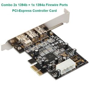 Image 1 - קומבו 2x1394B + 1x1394A Firewire יציאות PCI Express Controler כרטיס/TI XIO2213B שבבים עם נמוך פרופיל סוגר עבור העברת נתונים