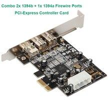 コンボ 2x1394B + 1x1394A firewire ポート pci express コントローラカード/ti XIO2213B チップセットロープロファイルブラケットためデータ転送