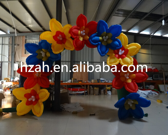 Beauty Inflatable Arch with Colorful Flower commercial sea inflatable blue water slide with pool and arch for kids