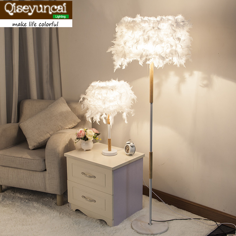 Qiseyuncai Modern minimalist creative fashion feather table lamp floor lamp living room bedroom warm romantic lighting
