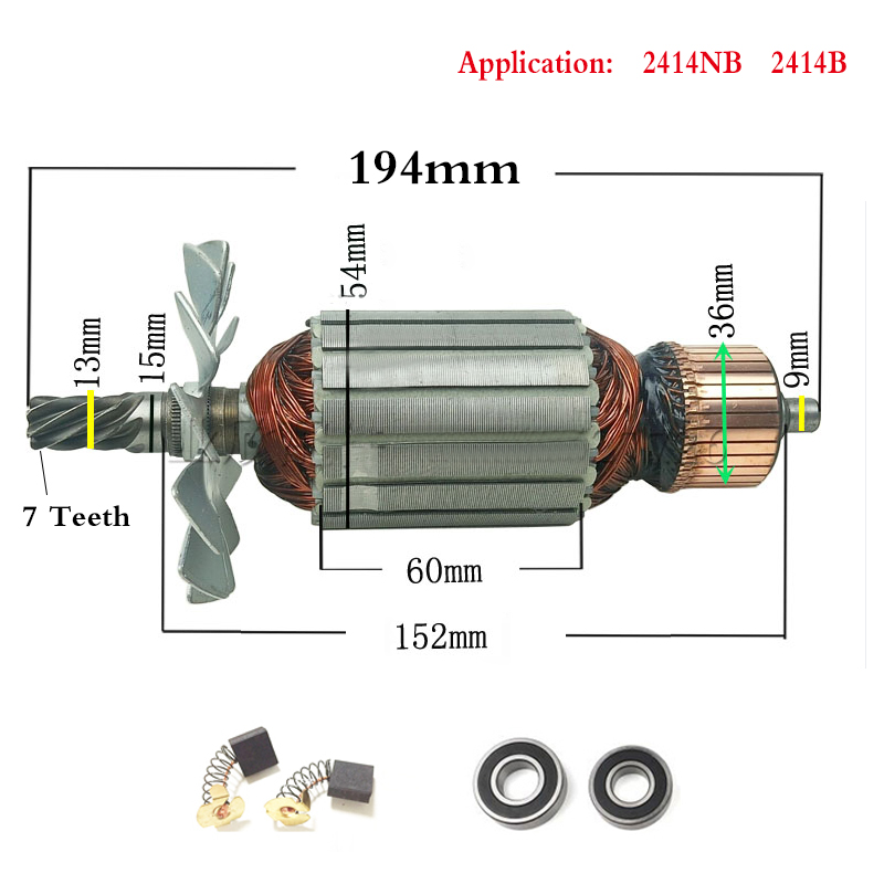 AC220-240V 7 Teeth Drive Shaft Electric Hammer Steel Cutting Machine Rotor 355 For Makita 2414NB 2414B 516563-1 516564-9