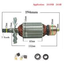 AC220 240V 7 Teeth Drive Shaft Electric Hammer Steel cutting machine rotor 355 for Makita 2414NB 2414B 516563 1 516564 9