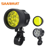 SAARMAT Dual Color white yellow motorcycle headlight led with Cree chip DRL Fog lights Scooter Spotlight LED Motorbike ATV Light