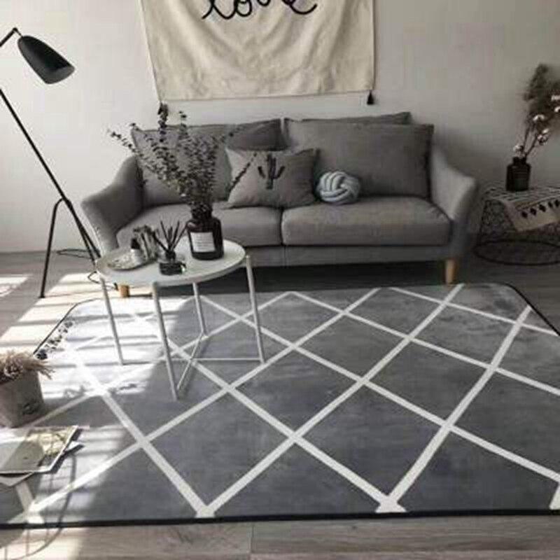 Grey White Geometric Area Rugs Nordic