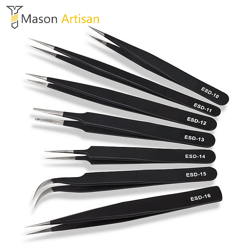 6Pcs/Set Tweezers ESD 10-15 High-elastic Anti-static Stainless Steel Soldering Tweezers Hand Tools for Soldering Station anti static elastic finger cots stalls yellow size l 50 pcs