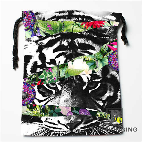 Custom Tiger Flower Drawstring Bags Printing Fashion Travel Storage Mini Pouch Swim Hiking Toy Bag Size 18x22cm #171203-6-8