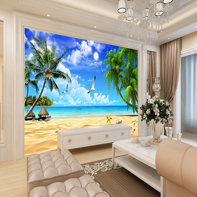 3d living wall beach paper mural background bedroom sofa landscape wallpapers zoom suppliers