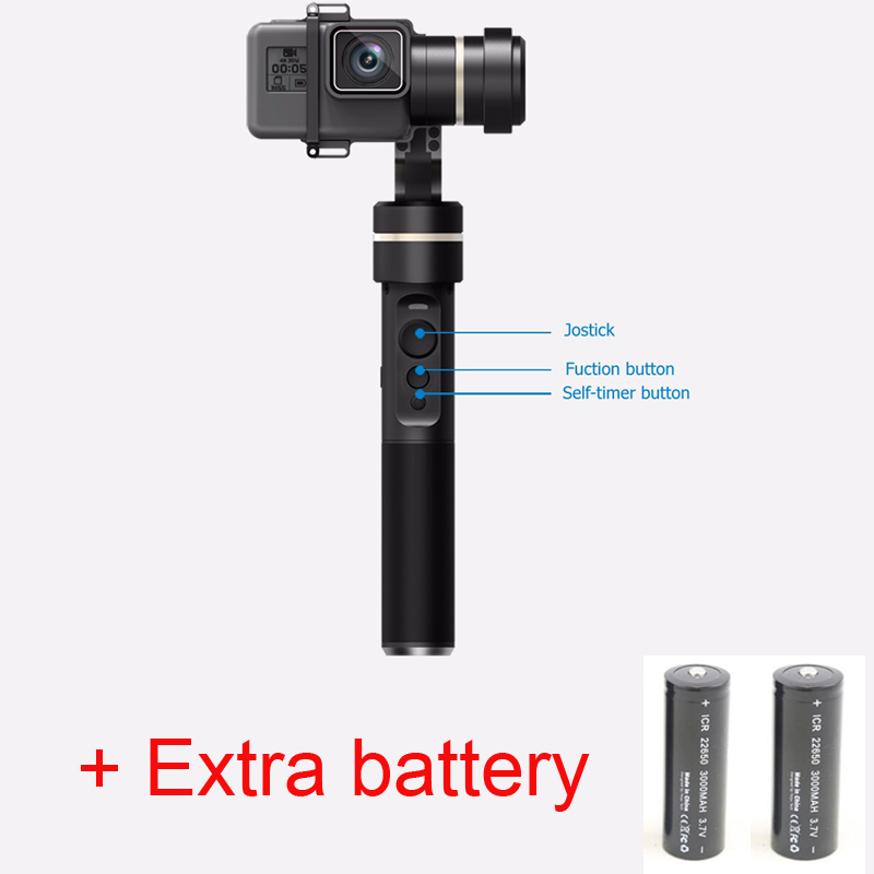 (With Two batteries) FeiyuTech G5 (Feiyu FY G5) 3-axis handheld gimbal for gopro hero 5 and other action cameras splashproof with two batteries yuneec q500 4k camera with st10 10ch 5 8g transmitter fpv quadcopter drone handheld gimbal case