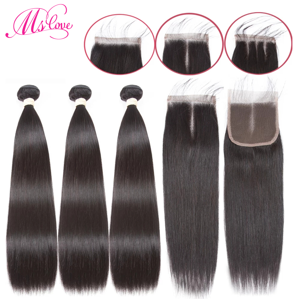 Straight Human Hair Bundles With Closure 3 4 Peruvian Hair Bundles With Closure Non Remy Ms Love Beau Diva