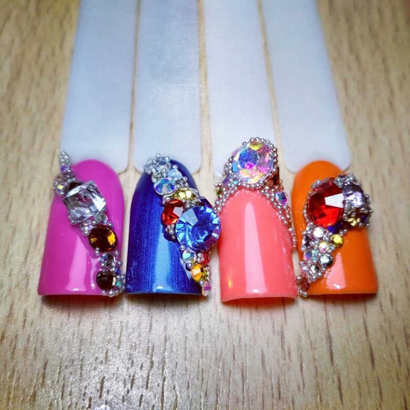 Junao 1100 PC SS 6 10 16 30 Mix Ukuran Warna Kaca Imitasi Set Pointback Batu Kristal Bulat Berlian Imitasi diamond Dekorasi