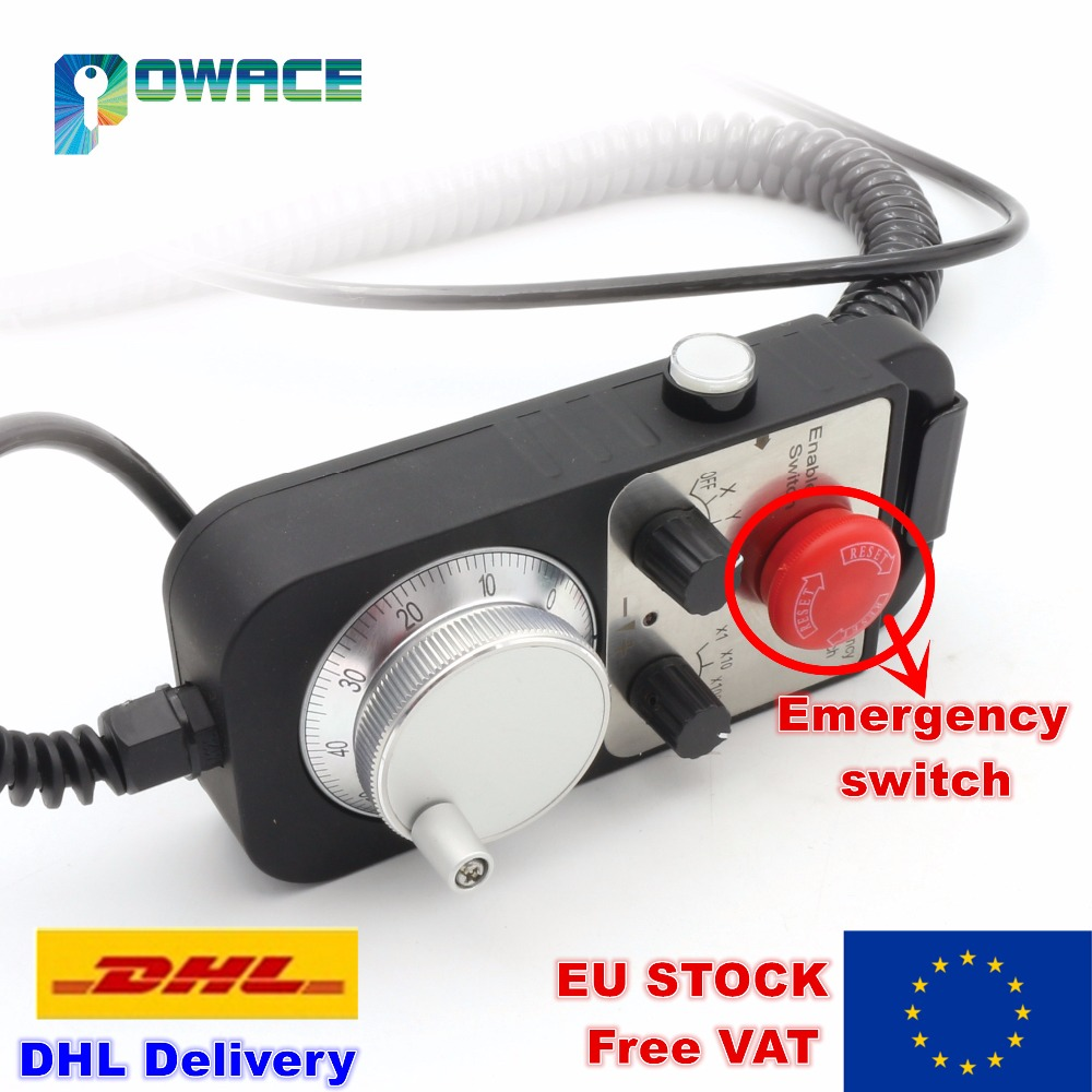 [EU Stock/Free VAT] 4 Axis Hand Wheel MPG Universal Pendant Handwheel with Emergency Stop CNC Router