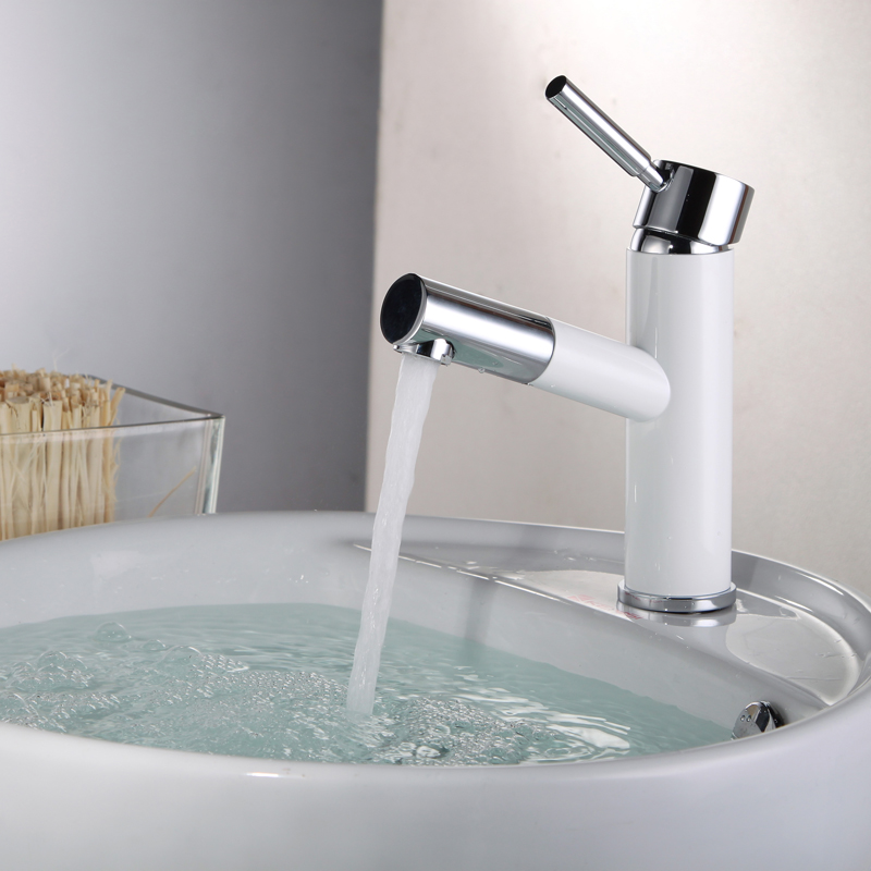 Bathroom Basin Faucet Vanity Vessel countertop Brass Pull out Hot and Cold Water Mixer Deck Mounted Single Handle Tap torneira crystal white basin vessel sink faucet single lever countertop bathroom mixer taps with hot and cold water