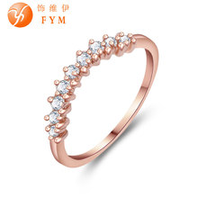 Fashion Rose Gold Color Female Promise Ring with AAA Cubic Zircon Crystal Jewelry Wedding Bands Rings for Women Bride Wholesale fashion rose gold color female promise ring with aaa cubic zircon crystal jewelry wedding bands rings for women bride wholesale