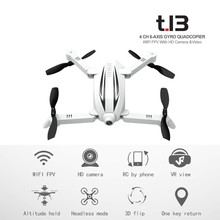 Flytec T13 3D 2.4G 4CH 6-Axis Gyro Mini Foldable RC Drone with Wifi FPV 720P Wide Angle Camera High Hold Mode RC Quadcopter(China)
