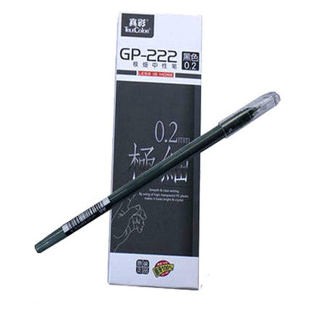 Gel Pen Roller Ball Black Ink 0.2mm Office and School Supplies Stationary 12Pcs