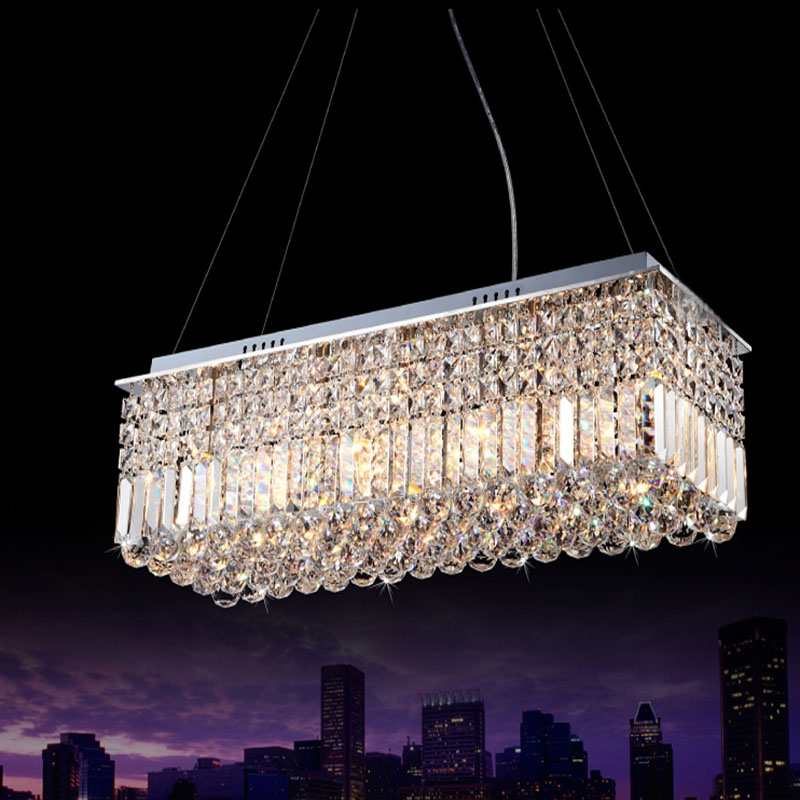 Long Size Rectangle Crystal Pendant Light Fitting Chandelier Ceiling Suspension Lamp For Dining Room Bedroom Meetin In Lights From