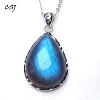 CSJ 100% Natural Blue Labradorite Pendants Moonstone Sunstone Necklace Divination spiritual meditation Fine Jewelry
