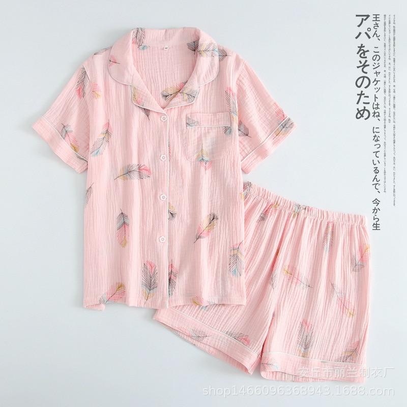 Новинка, летние шорты с короткими рукавами, пижамы для женщин, 100% хлопок креп, мультфильм, перо, принт, пижамы, отложной воротник, домашний костюм-in Комплекты пижам from Нижнее белье и пижамы on AliExpress - 11.11_Double 11_Singles' Day